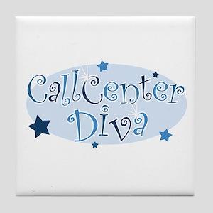 Call Center Diva [blue] Tile Coaster